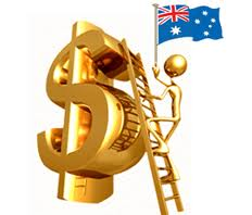Golden robot man guy holding Aussie flag climbing up a ladder propped against a large gold covered dollar statue