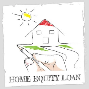 Hand drawing house and home equity loan words