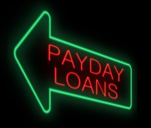 Illustration depicting a neon sign with a payday loans concept