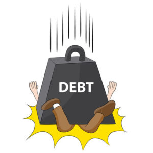 An image representing a person crushed in debt