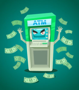 Cartoon ATM showering out lots of bank notes