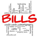 Bills Word Cloud Concept in red and black letters with great terms such as medical, mortgage, past due, pay, taxes and more