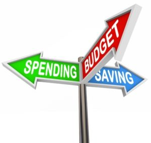 Three road signs pointing to Spending, Saving and Budget to symbolize budgeting and savings in your personal finance for long term financial goals or retirement