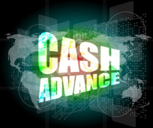 business concept: cash advance words on digital touch screen