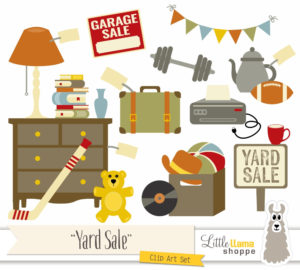 Coloured drawing of an assortmant of items that could be sold at a garage sale