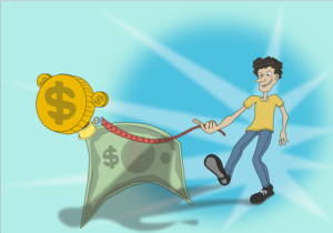 drawing of a man woth a money dog on a leash
