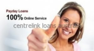 Blonde lady giving the thumbs up sign about her centrelink loan