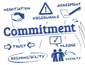 commitment. chart with keywords and icons