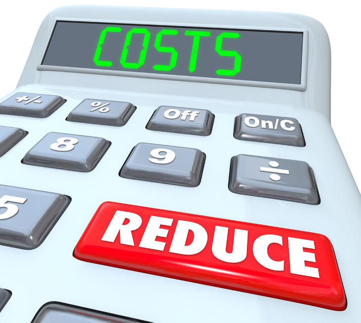reduce costs words on a 3d plastic calculator to illustrate managing a budget and cutting expenses to improve your finances