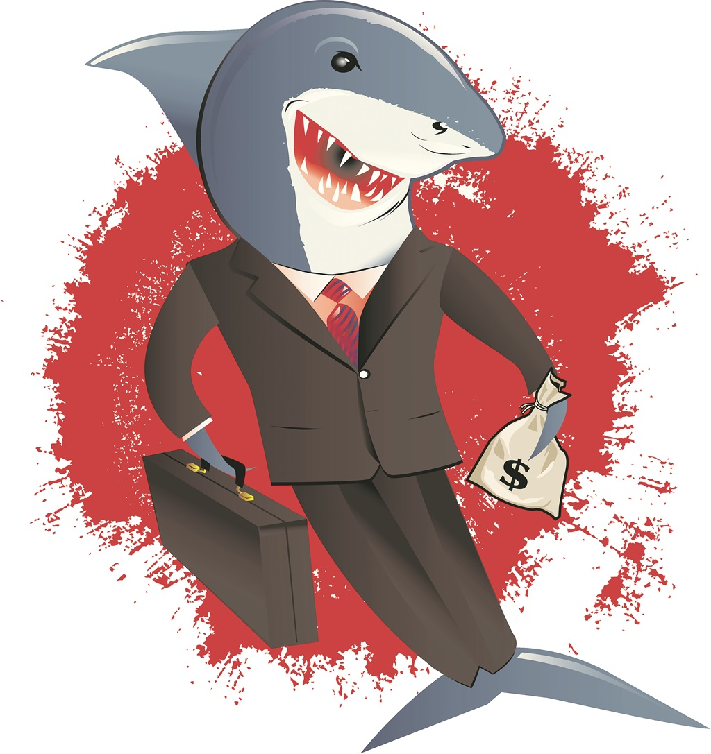 fast-check-advance.com - caricature of a shark dressed in a snappy business suit offering loans