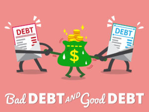 bad credit centrelink loans - cartoon picture showing bad debt and good debt caricatures oppositely pulling on a money bag